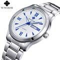 2016 Relojes de Los Hombres A Estrenar Luminoso Día Fecha Hora Reloj Masculino plata de Lujo de Acero Inoxidable Reloj de Cuarzo de Los Hombres Casual Sport reloj