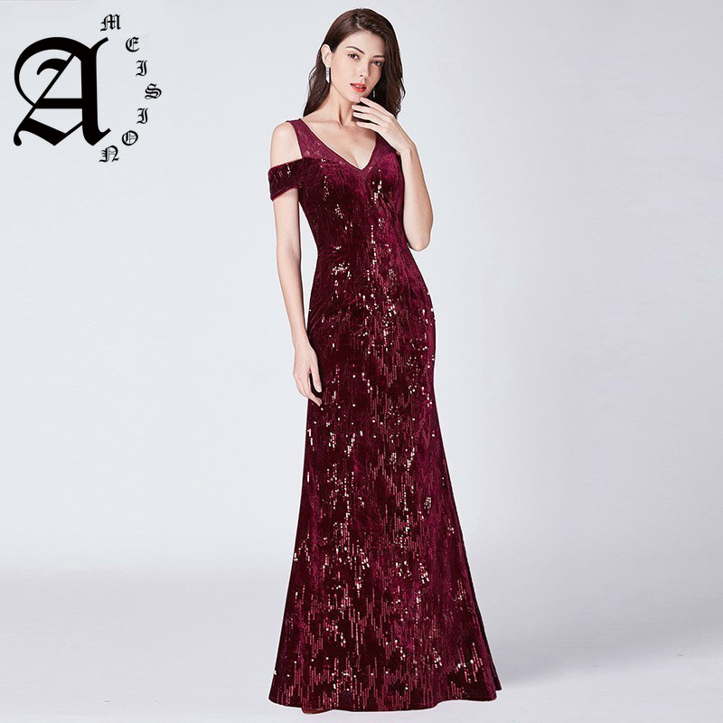 2019 Mermaid Sequined Shiny Party Dress Elegant Lace Formal Dresses Vintage Long Ever Pretty Evening