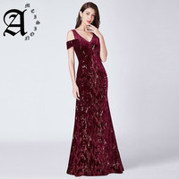 2019 Mermaid Sequined Shiny Party Dress Elegant Lace Formal Dresses Vintage Long Ever Pretty Evening Dresses