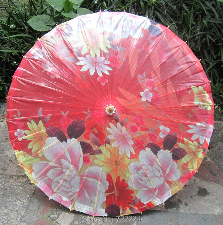 Dia 84cm Red Back Colorful Flowers Oil Paper Umbrella Chinese Handmade Craft Festival Wedding Decoration Collection Umbrella dia 84cm chinese handmade red plum blossom oil paper umbrella ancient waterproof sunshade parasol decoration gift dance umbrella
