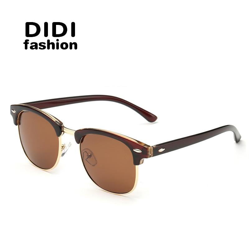 DIDI Classique Moitié Métal Polarisées lunettes de Soleil Hommes Femmes Marque  Designer Lunettes Miroir Lunettes de Soleil Gafas Oculos De Sol UV400s H078 69ec22978c6a