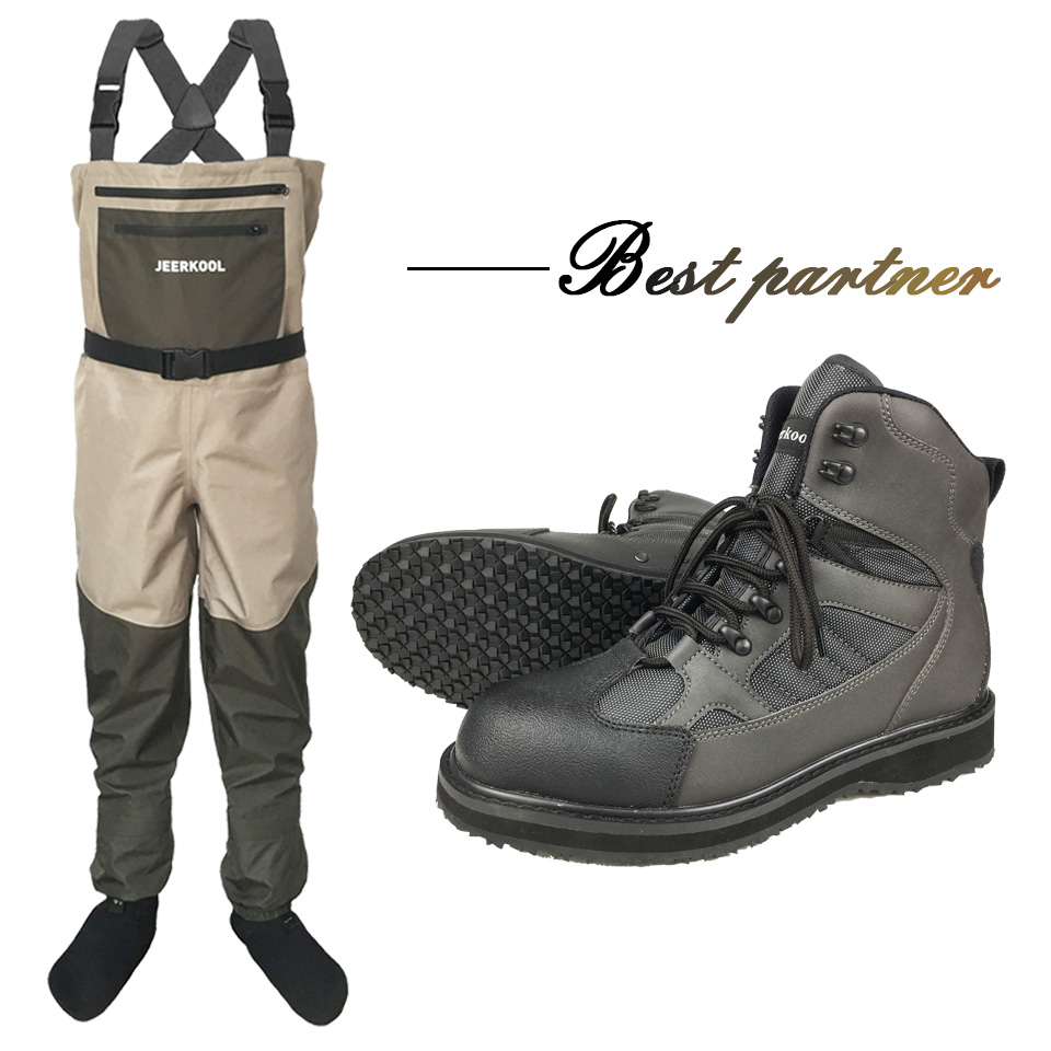 Fly Fishing Clothes Waders Outdoor Hunting Wading Pants and Shoes Overalls Rubber Sole Fishing Boots Rock