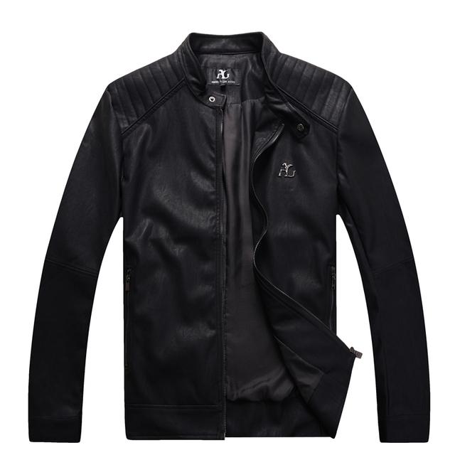 Angelo galasso moda chaqueta de cuero de los hombres 2016 de lanzamiento comercial cómodo simple diseñado escudo handsome envío libre