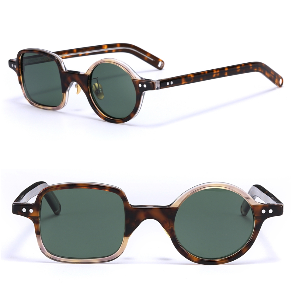 Vintage retro character square round sunglasses imported acetate frame polarized lens fashion original box case free