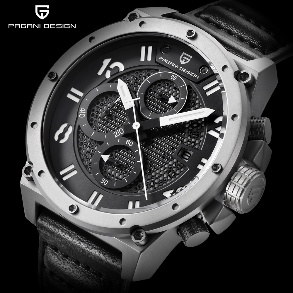 PAGANI DESIGN Chronograph Sports Watches Men Leather Quartz Watch Luxury Brand Waterproof Military Wistwatch Relogio Masculino luxury brand pagani design waterproof quartz watch army military leather watch clock sports men s watches relogios masculino