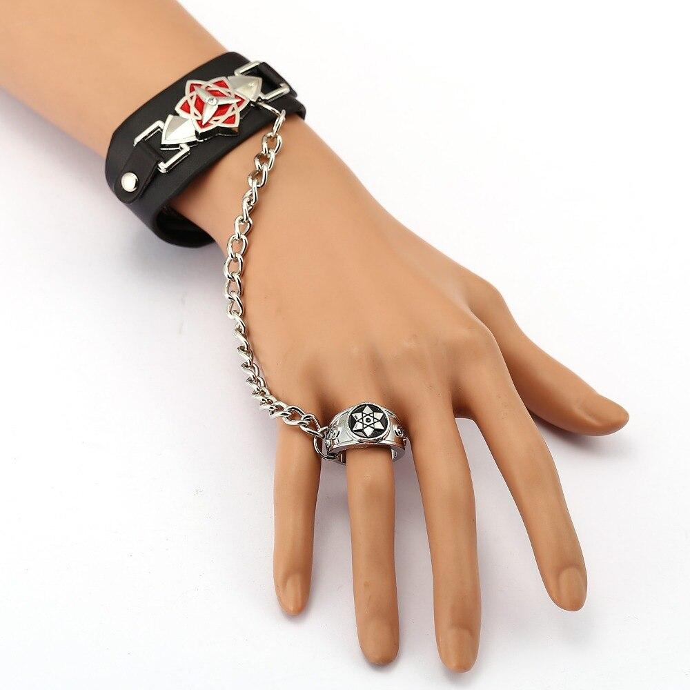 Pcs Ms Jewelry Naruto Leather Bracelet Sasuke Sharingan Link Charm  Bracelets Anime Cosplay Punk