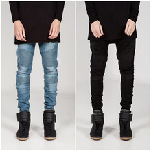 2016 Men's jeans Ripped jeans for men Skinny black jeans Slim resilience Fold Locomotive jeans Trendy fashion High quality WZ321