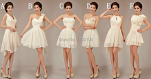 Free Shipping 2014 Summer Cheap One Shoulder Halter White Knee Length Short Bridesmaid Dresses