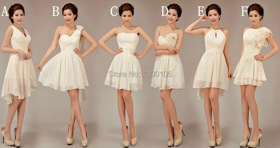 Free Shipping 2014 Summer Cheap One Shoulder Halter White Knee Length Short font b Bridesmaid b