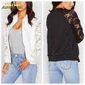 Adogirl Black White Lace Bomber Jacket Women Zipper Basic Coats 2016 Fashion Long Sleeve Causal Short Womens Jackets Plus Size