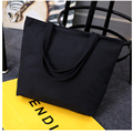 Wholesale White /Black Canvas Shopping Bag Foldable Reusable Grocery Bags Cotton Fabric Eco Tote Bag