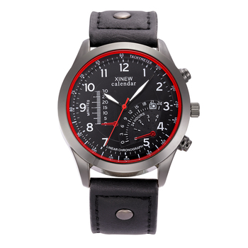 Fashion Luxury Brand XINEW Original Designer Leather Band Sports Style Calendar Casual Watches Men Relogio Masculino Marca Male