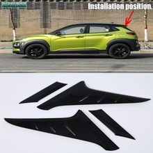 car-styling fit For Hyundai Kona Kauai 2018 2019 Rear Window Side Triangle Cover Trim Sequins Plate car Accessories carbon fiber lapetus car steering wheel frame cover trim 2 pcs fit for hyundai kona 2018 2019 carbon fiber look