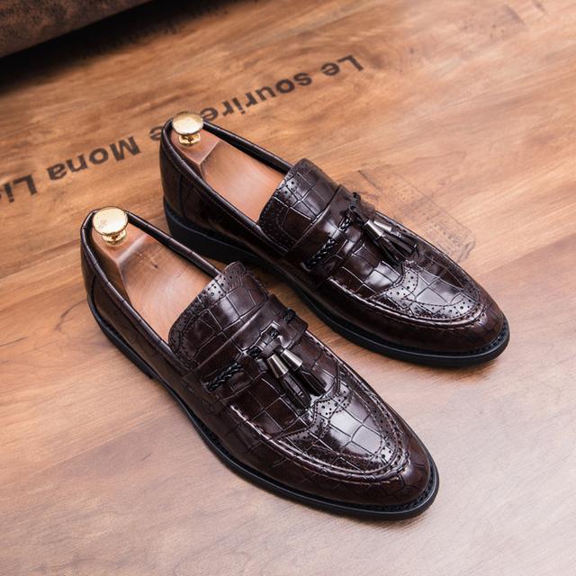 snake skin men patent leather shoes designer fish skin wedding male footwear italian tassel dress brogue oxford shoes for men