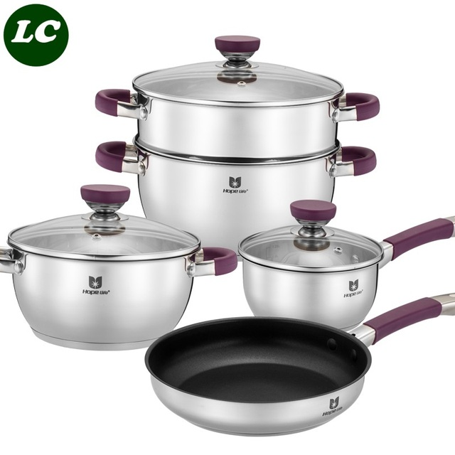 Kitchen Pan Set Upgrade Cost Pots Casseroles Luxury Steamer Pot Frypan Caucepan Inox Pans And Purple Silicone Anti Hot Cooking Utensil