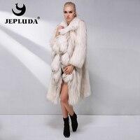 JEPLUDA Luxury Real Fox Fur Coat Women Winter Natural color Elegant Placket Raccoon Fur Coat Women's Real Fur Coat women clothes