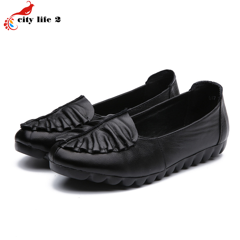 Cowhide Genuine Leather Leisure Shoes Soft Bottom Shoes Shallow Mouth Flat With Casual Mother Shoes font