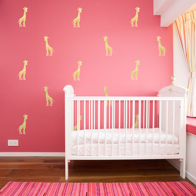 Funlife Gold Giraffe Peel & Stick Wall Stickers for Home Bedroom ...
