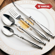 Excellent 304 Stainless Steel Dinnerware Sets Silverware Dinner Spoon Fork Knife Cutlery Hollow Handle Comfortable Tableware