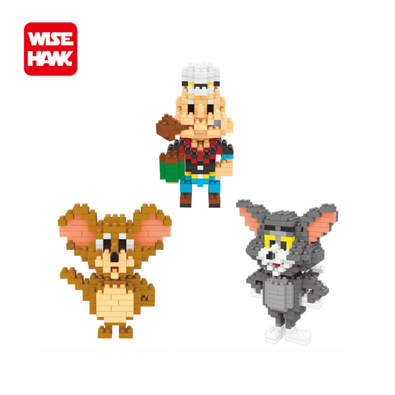WiseHawk collection nano blocks Tom and Jerry Popeye anime mini models micro building bricks educational toys gifts for children ...