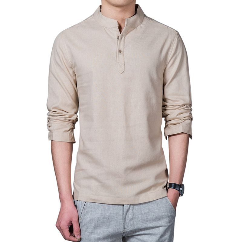 2018 Cotton Linen Men Casual Shirt Blended Mandarin Collar Breathable Clothing For Men Long Sleeve Over Sized Shirts H9