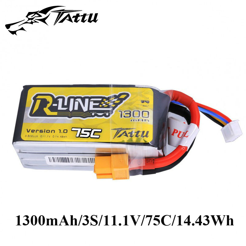 TATTU R Line Lipo Battery 11.1V 1300mAh Batteries Lipo 3s with XT60 Plug 75c RC Battery for RC Quadcopter RC FPV Drones