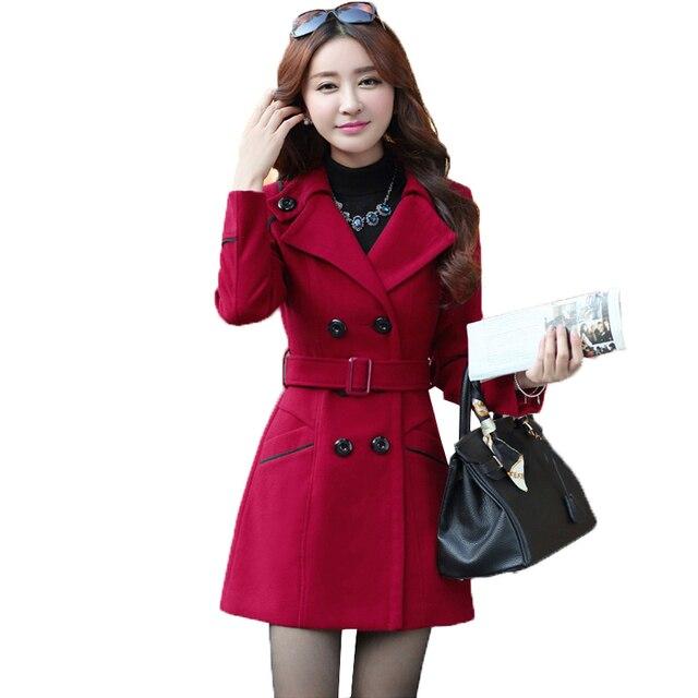 Grande taille XXXL nouveau automne hiver vêtements femme Long manteau en laine femme mode Slim était mince Long mélanges Trench pardessus WYT594