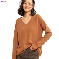 2018 Spring Autumn Fashion V neck Cashmere Wool Sweater Women's Pollover Long Sleeves Lady Sweater