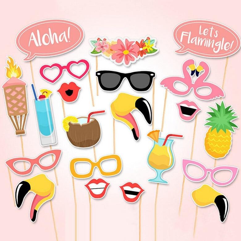 ALOHA New 21pcs Hot Summer Hawaiian Photo Prop BoothPrintable Party Decor Tropical