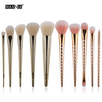 MAANGE Brand Peach Girl Store Gold Color 10PCS Cosmetic Makeup Brush Makeup Brush Eyeshadow Brush Free