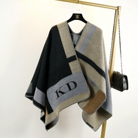 2018 New Women Poncho B Cashmere Wool Scarf Embroidery personalized Poncho Cape Block Check Blanket Poncho