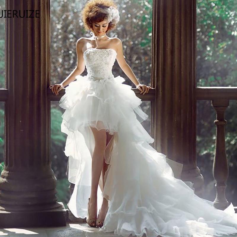 JIERUIZE White Organza Hi Low Wedding Dresses Lace Appliques Lace Up Back Front Short Long Back
