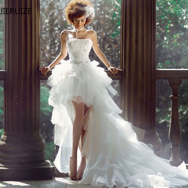 JIERUIZE White Organza Hi Low Wedding Dresses Lace Appliques Lace Up Back Front Short Long Back Wedding Gowns Robe De Mariee