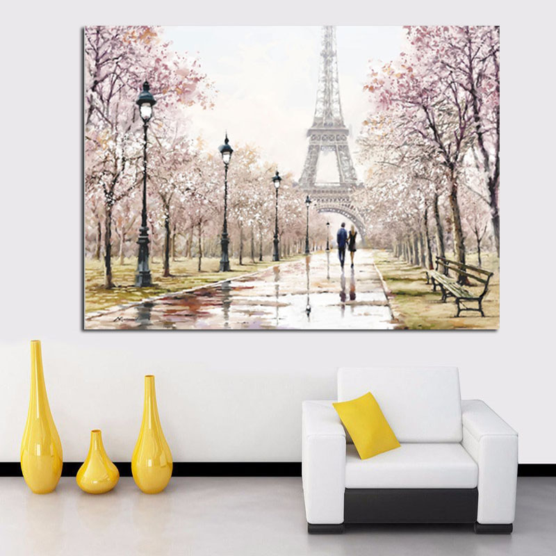 HD Print Romantic City Couple Paris Eiffel Tower Landscape Abstract Oil Painting on Canvas Wall Art Living Room Sofa Home Decor (2)