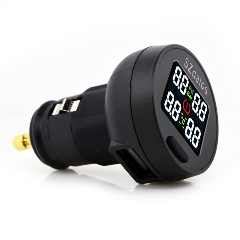 SZDALOS TP200 TPMS  Car Wireless Tire Pressure Monitoring System + 4 Mini Sensors  Cigarette Tyre Pressure Monitoring