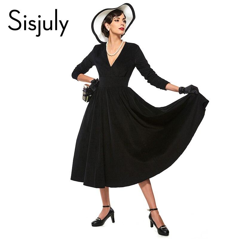 Sisjuly vintage dress una línea de negro las mujeres party dress retro media pan