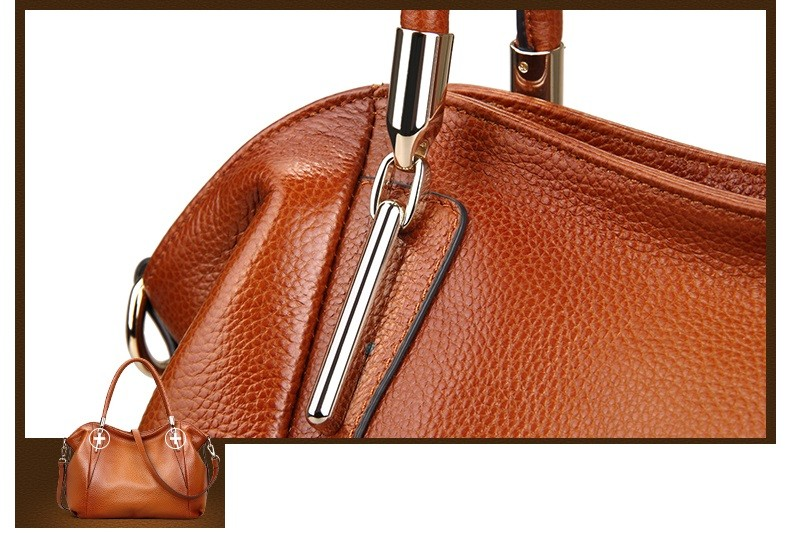 Vintage Women's Handbags Soft Genuine Leather Tote Crossbody Bag High Quality Cow Leather Shoulder Bags Female Brown Hand Bag 15