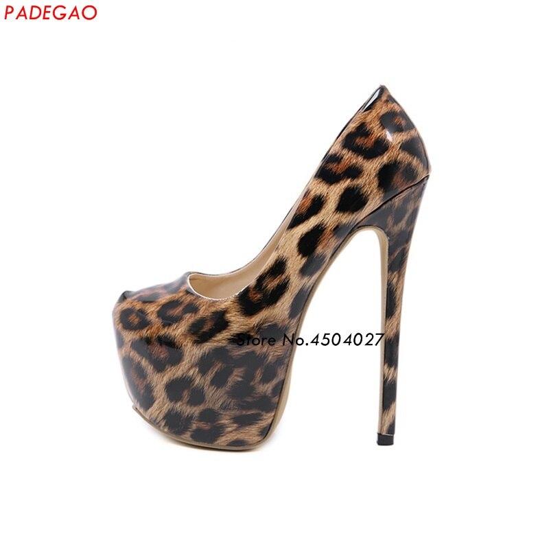 Léopard cuir verni femmes chaussures Sexy talons hauts bout rond parti femmes pompes chaussures de désherbage
