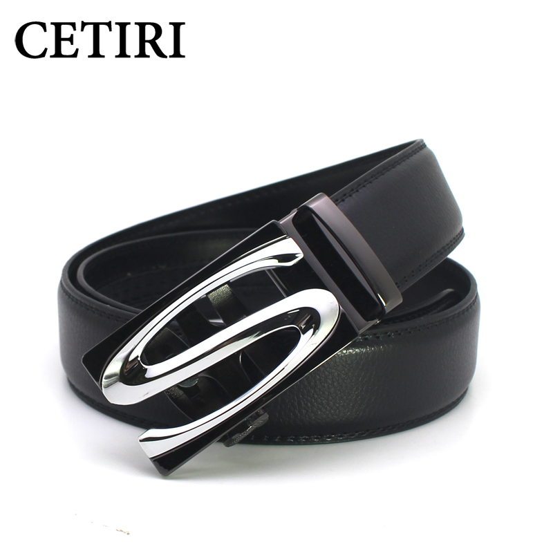 CETIRI Mens Belt Luxury Brand Genuine Leather Ratchet Belts For Men S Automatic Buckle Cowhide Strap Formal Belt Cinto 140 Cm