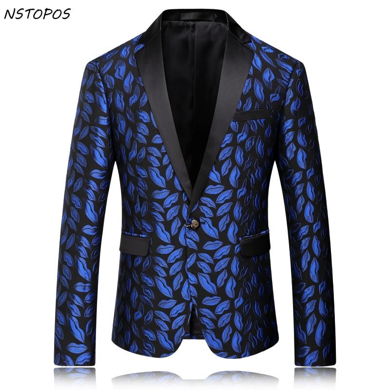Royal Blue Mens Floral Blazer 2016 New Autumn Men Flower Men Braoque Vintage Wedding Luxury Blazer Terno Masculino Homens Blazer