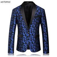 Royal Blue Mens Floral Blazer 2016 New Autumn Men Flower Men Braoque Vintage Wedding Luxury Blazer