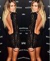 2016 moda negro lentejuelas de manga larga partido bodycon dress verano de las mujeres atractivas backless midi dress envío libre 4356 vestidos