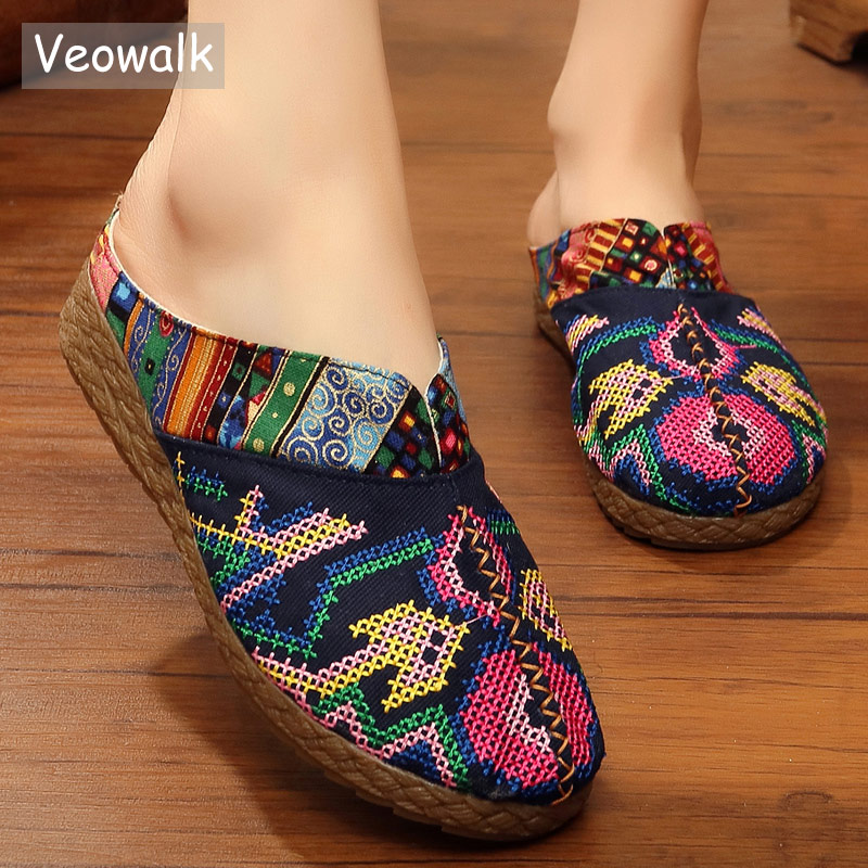 Veowalk Harajuku Summer Women Floral Embroidered Canvas Mules Slippers Hawaii Fashion Ladies Casual Platform Flat Slide Shoes