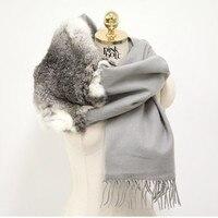 New fur scarves fashion women female wraps real rabbit fur trimmed spring autumn winter plus size gray scarves S35