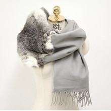 New  fur scarves fashion women female wraps real rabbit trimmed spring autumn winter plus size gray S35