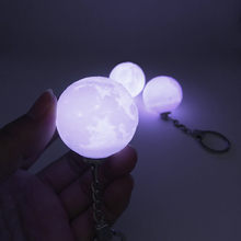 Portable Hanging Night Light 3D Print Moon Lamp Keychain Colorfuls Change Football Led Light Glow  Bedroom Decor