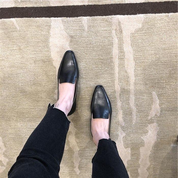 Nouvelle De D767 noir Femmes Travail Solide Lady Couche Vache Concise Carré Doux Arrivée Office Chaussures apricot Peu Profonde Beige Sur Peau Slip Première Élégante rt0qRrxBw