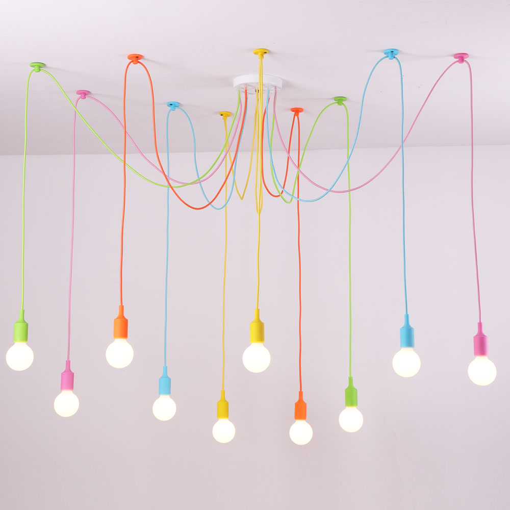 Custom Pendant Lights Colorful DIY Lighting Multi color Silicone E27 Bulb Holder Lamps Home Decoration 4 12 Arms Fabric Cable