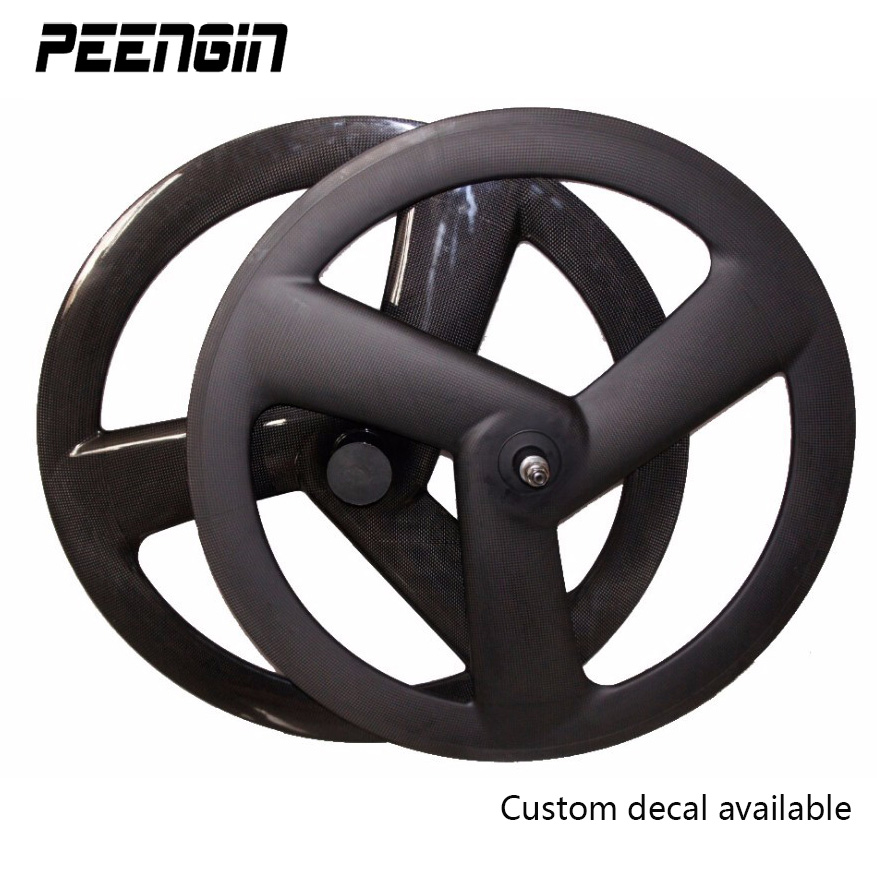 carbon tri spoke wheel front 700C road rear tubular wheel bicycle 3 spokes fixed gear track bike clincher carbon cycle wheelset 1pcs magnesium alloy single speed fixed gear bike wheels 700c road racing venues inch wheel bicycle accessories