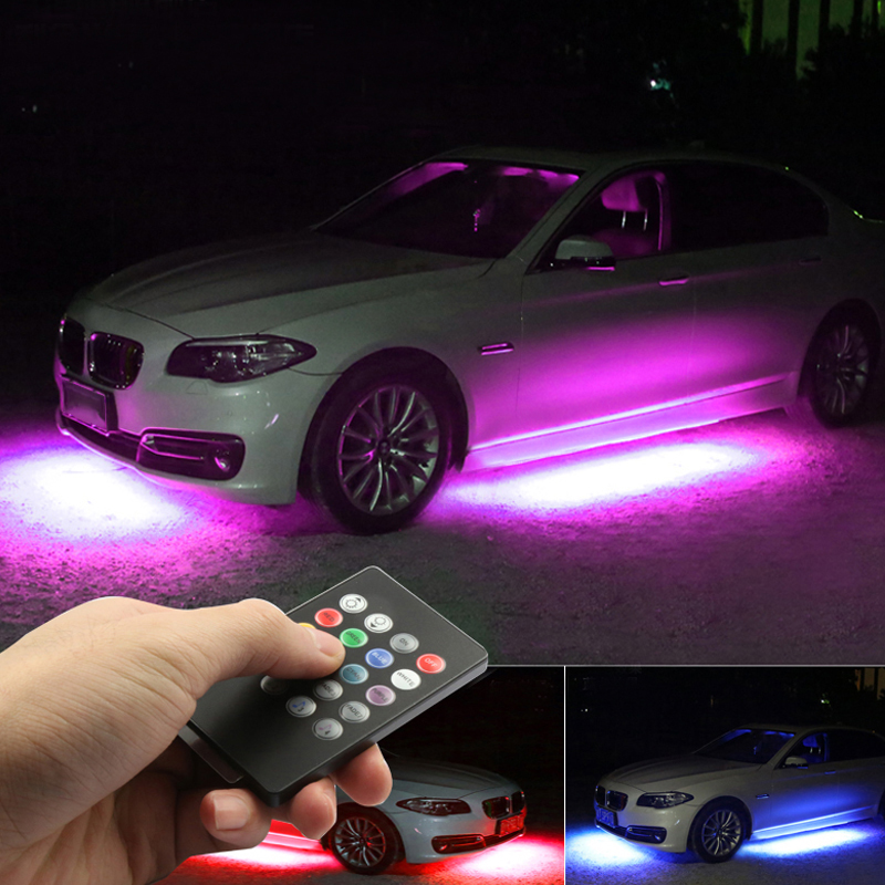 Niscarda 4x DC12V IP65 RGB 5050 SMD Music Remote Control RGB LED Strip Under Car Tube Underglow Underbody System Neon Light-in Decorative Lamp from Automobiles & Motorcycles